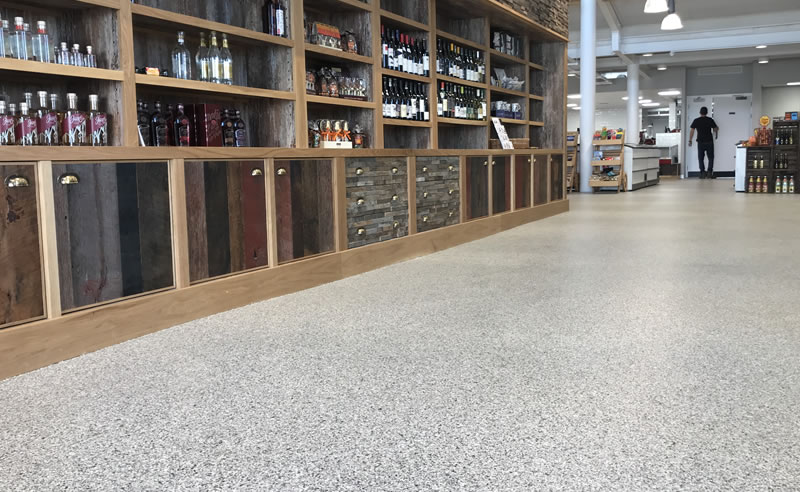 decorative flake flooring for a shop in huddersfield