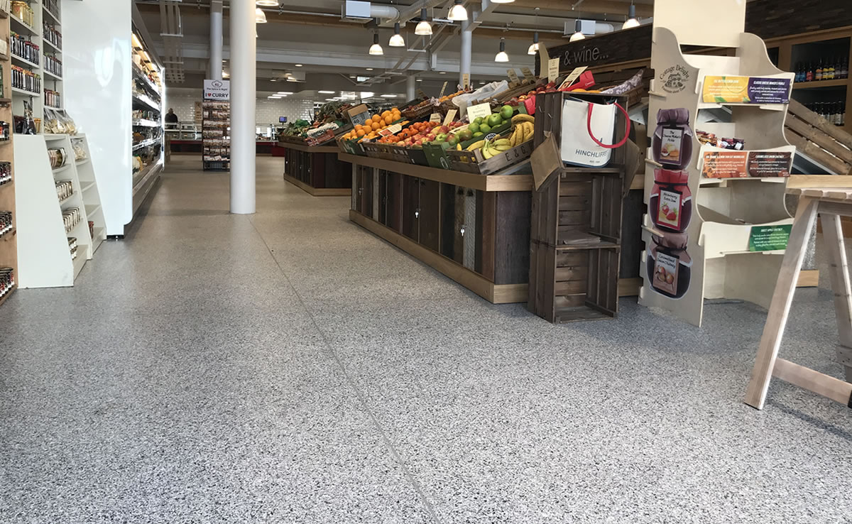 decorative flooring installed at a farm shop