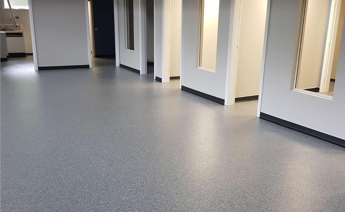 decorative flooring installed at a new vet hospital in huddersfield