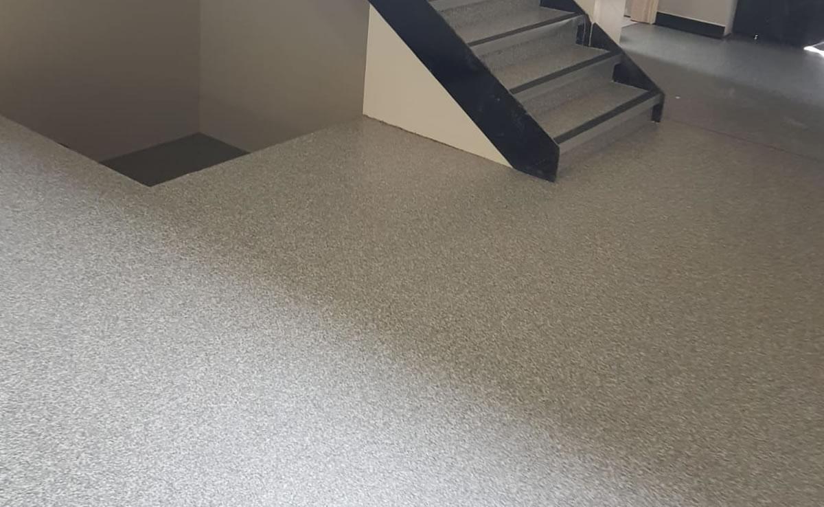 decorative flooring installed at a new vet in huddersfield