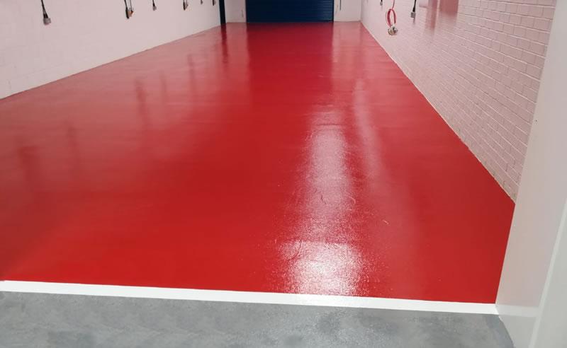 floor painted in red