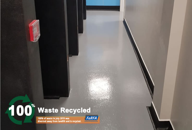 grey resin floor in a new vets hospital in huddersfield