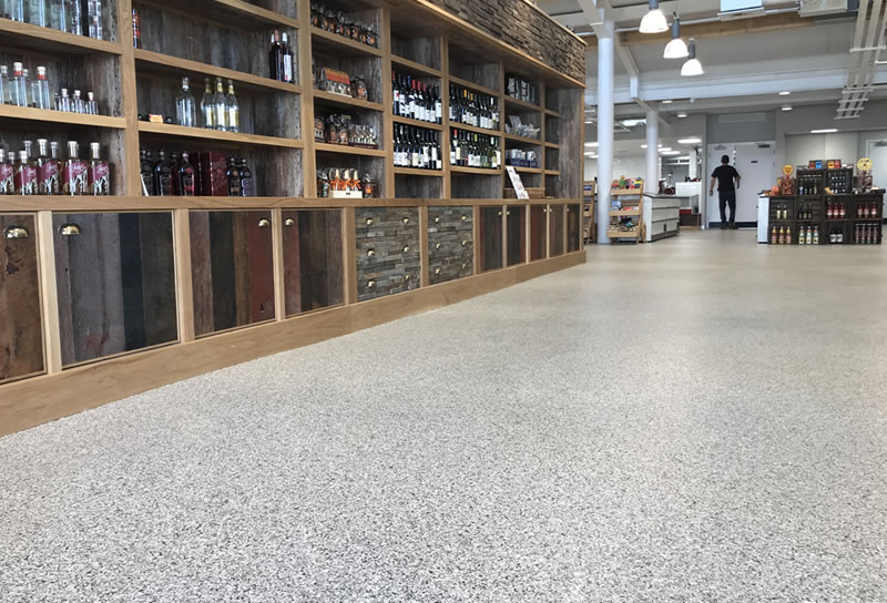 grey speckled floor for a farm shop