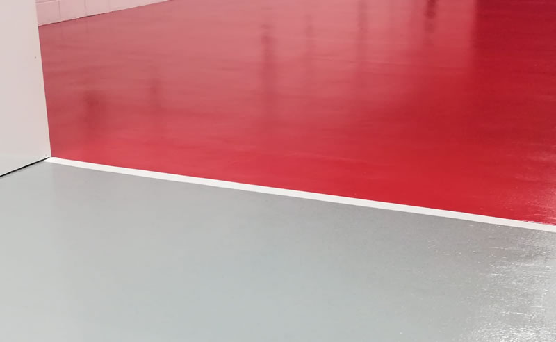 red and grey resin floor