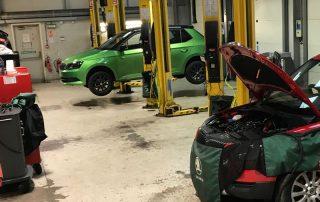 car workshop before resin flooring was installed