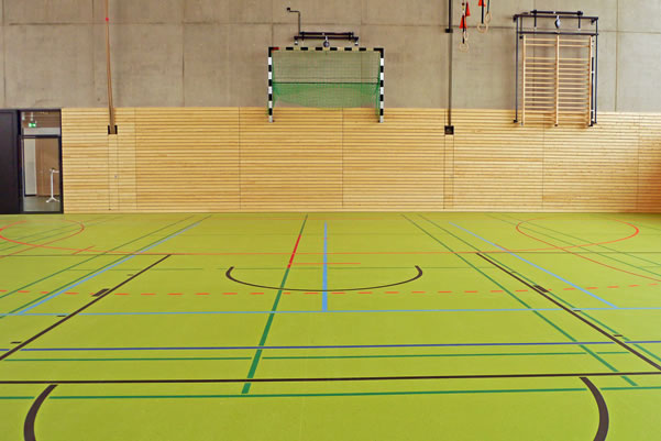 green gym floor with marking