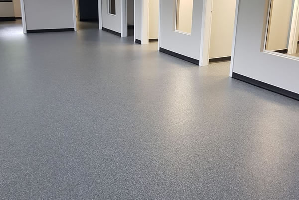 decorative flake system used at a veterinary surgery