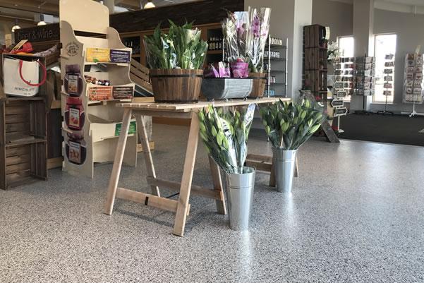 decorative flake system used at farm shop