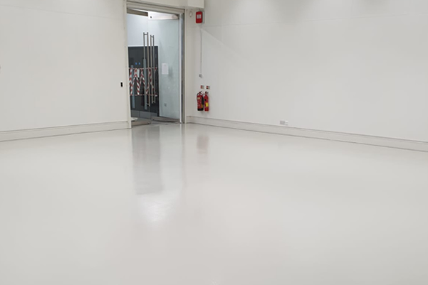 grey floor with altro tech moisture tolerant epoxy coating