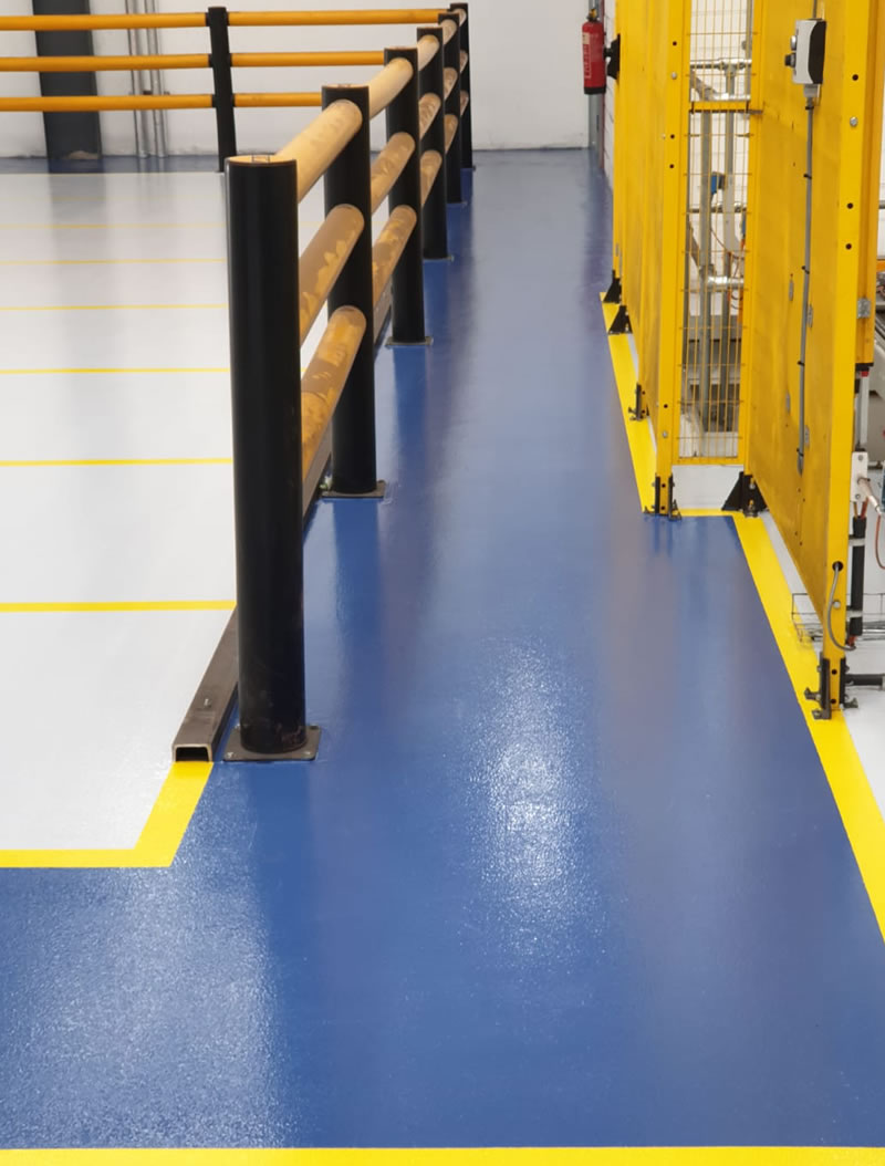 completed walkway for foot traffic in blue