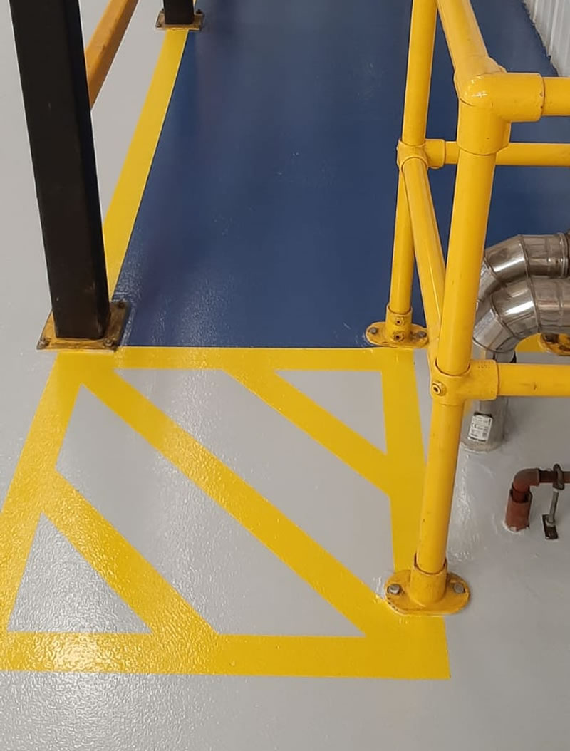 yellow and blue floor markings