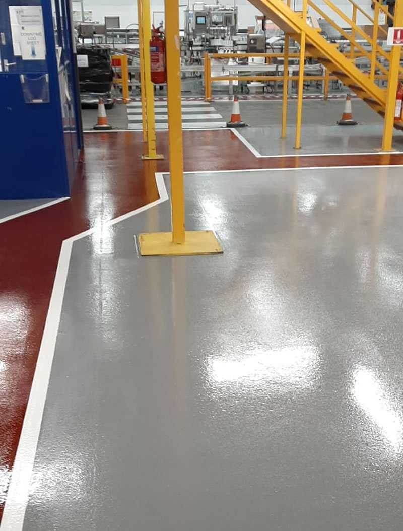 epoxy coating in grey in a factory