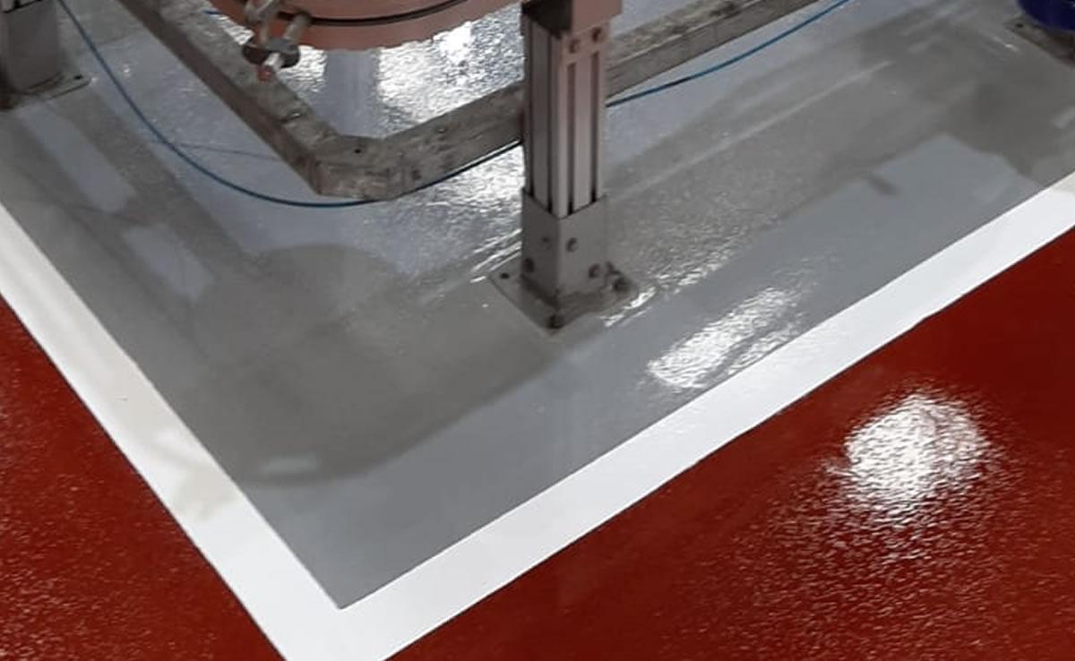 repairing walkway in red