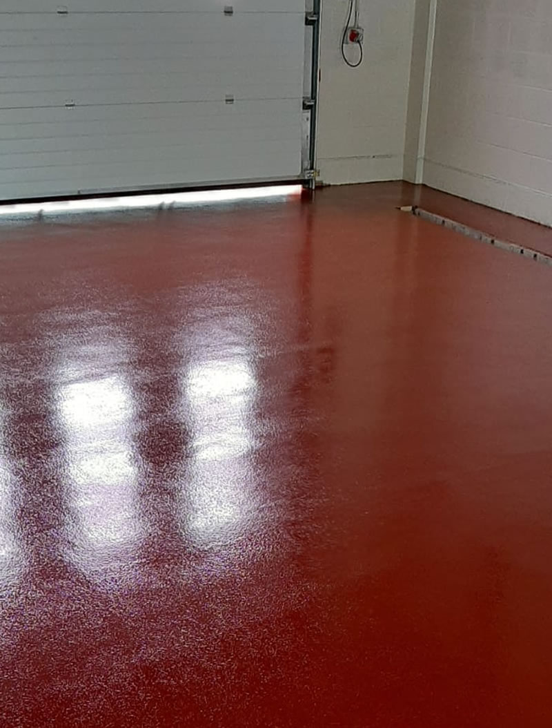 resin flooring in red for a fire station in wakefield