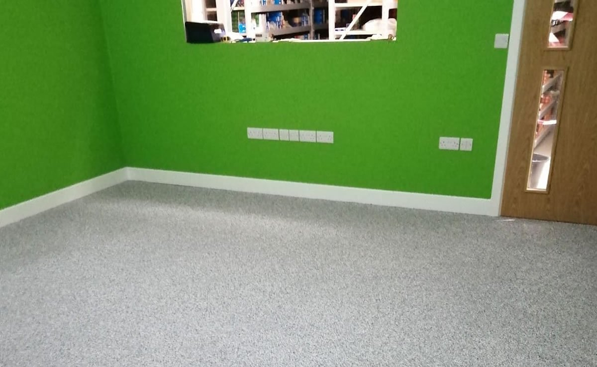 new epoxy flooring installed in an office