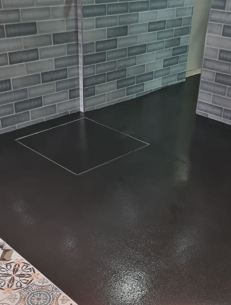 new resin floor installation for a fish and chip shop