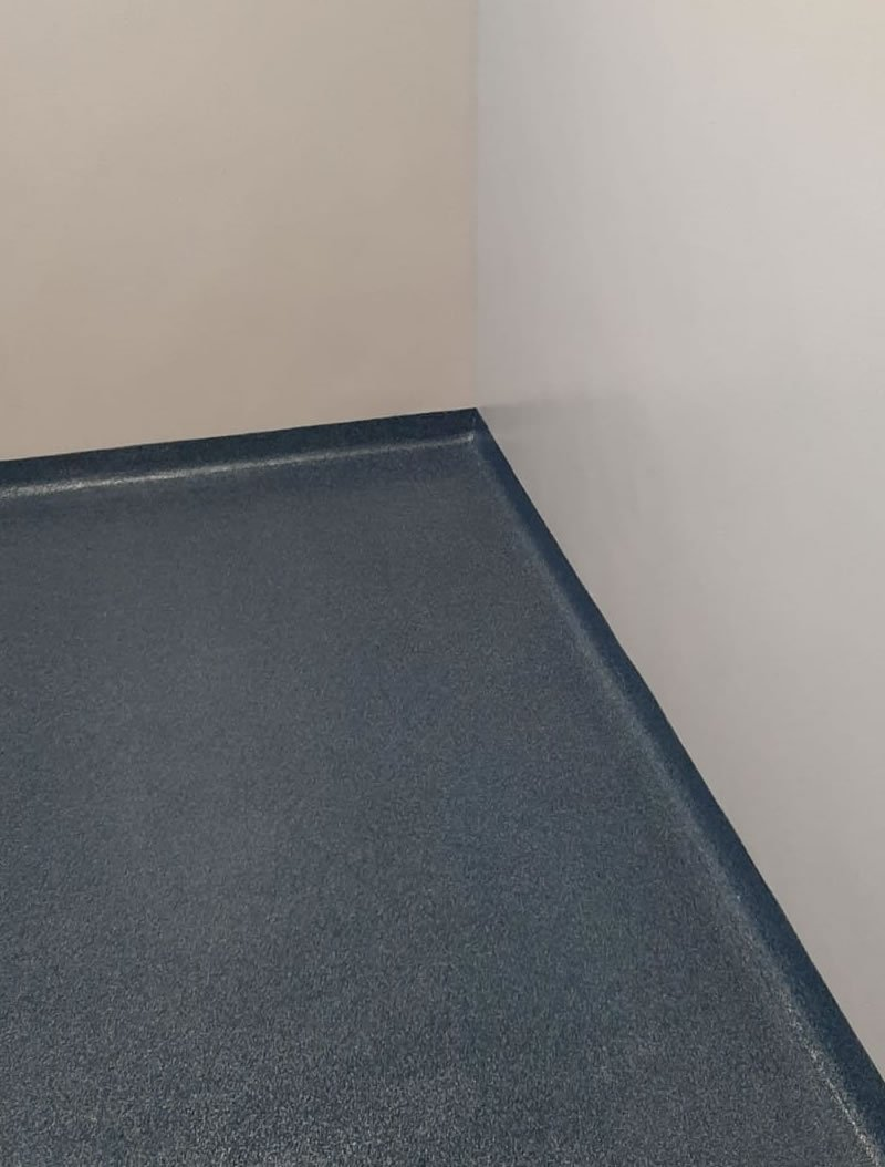 blue resin flooring with coving