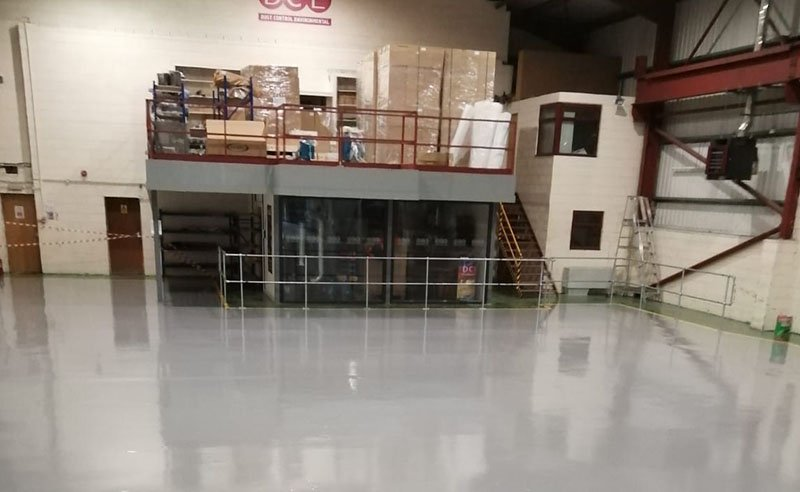completed resin flooring installation in grey