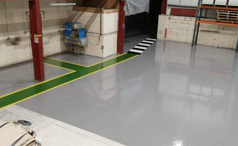 grey resin flooring at a warehouse in wakefield