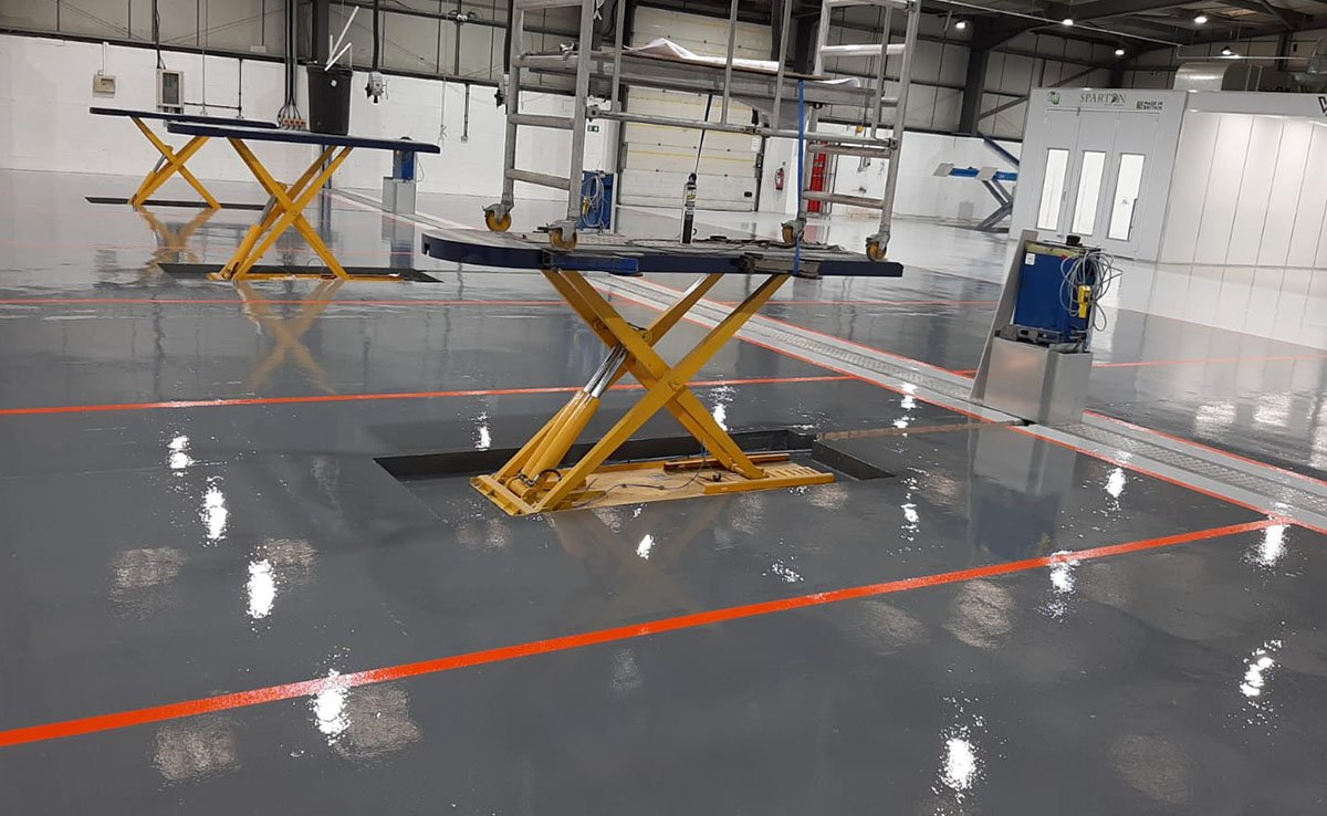 case study - resin floor in a auto workshop in coventry