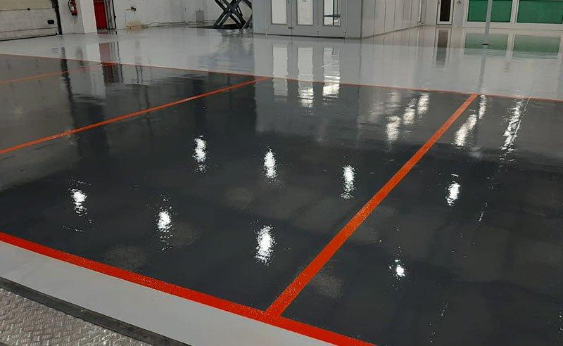 completed workshop resin floor in grey