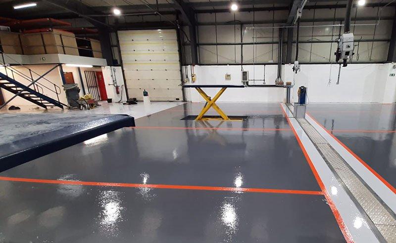 workshop floor with resin flooring