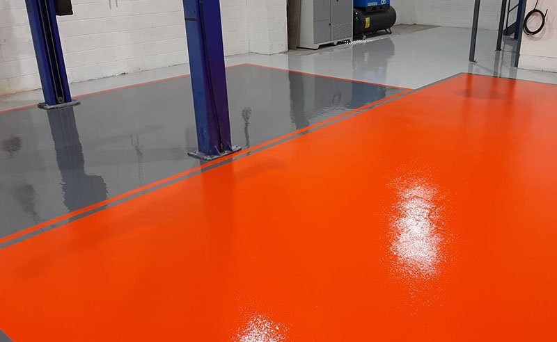 workshop resin flooring in orange