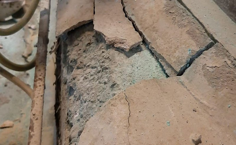 broken substrate at a chemical plant