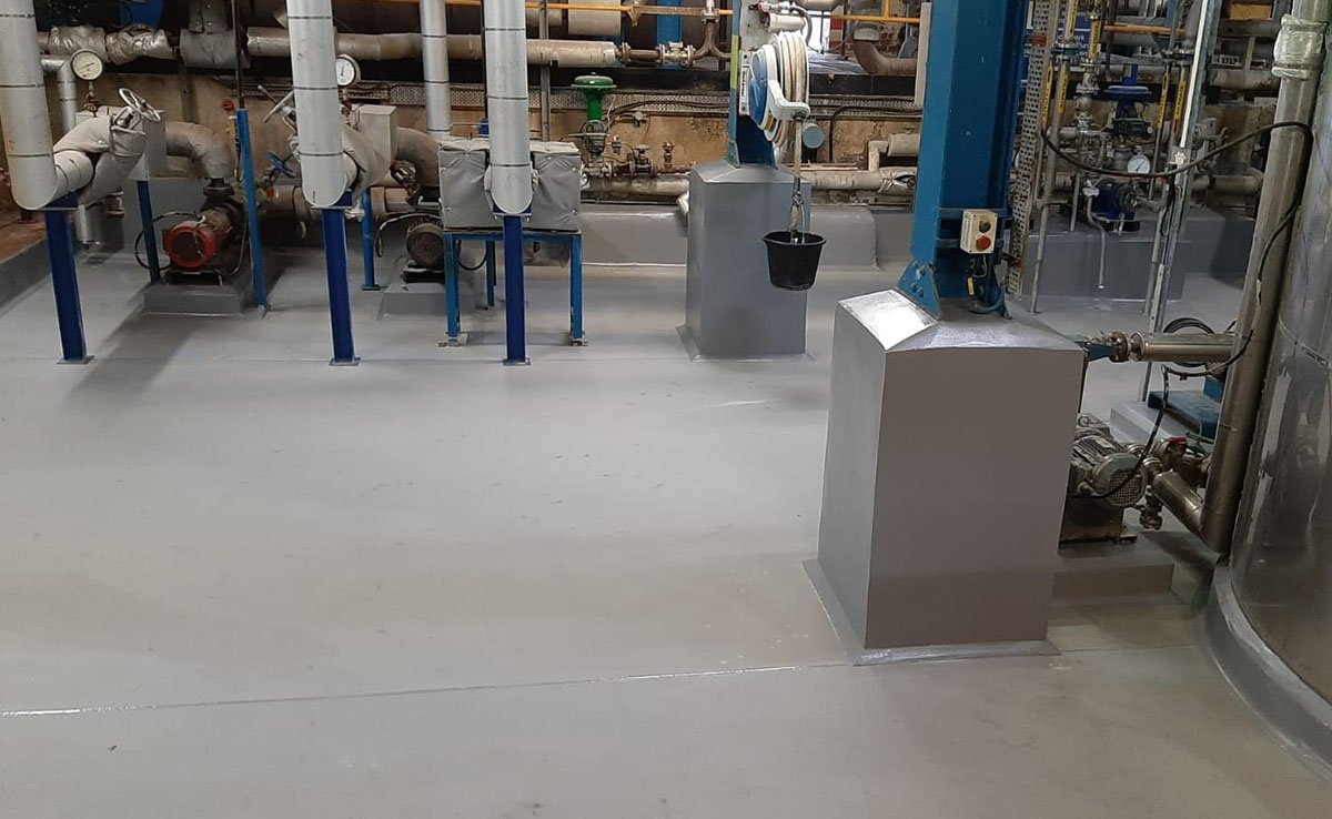 grey resin floor at a chemical plant