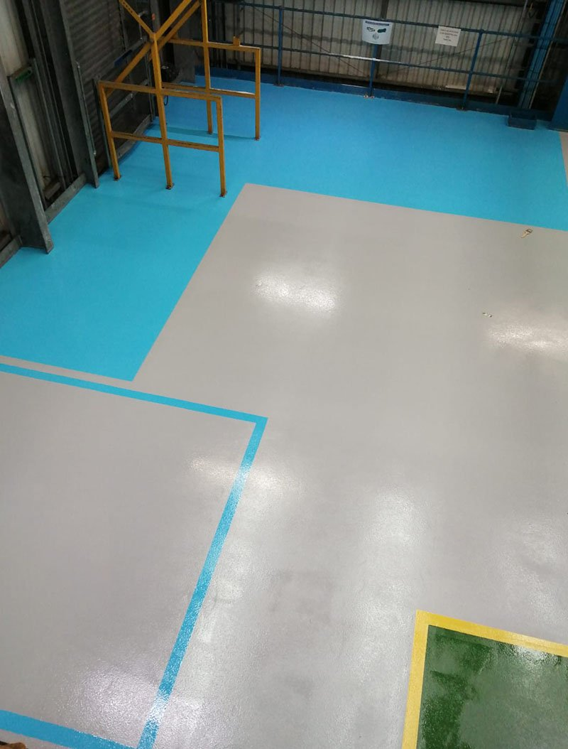 blue demarcation in a chemical production area