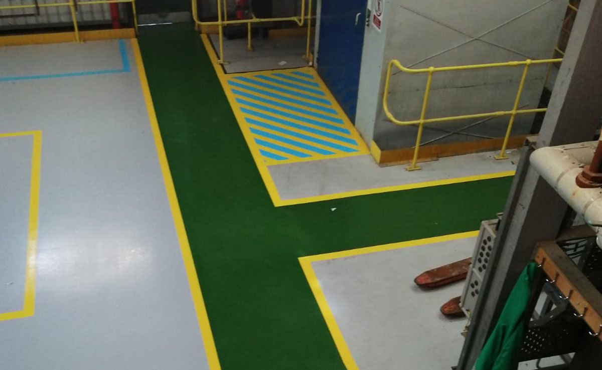 completed floor demarcation at a chemical plant