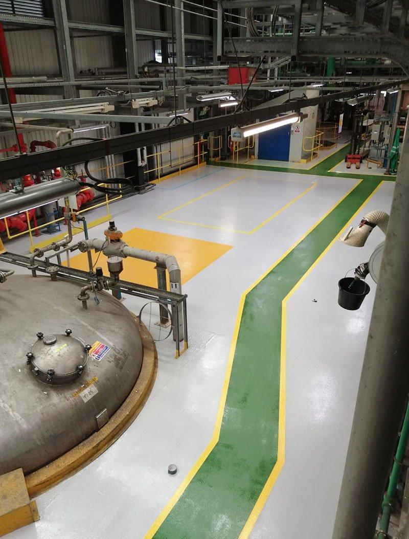 completed floor demarcation improving slip resistance