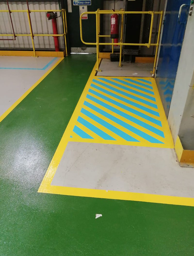 completed floor demarcation in a production area of a chemical plant