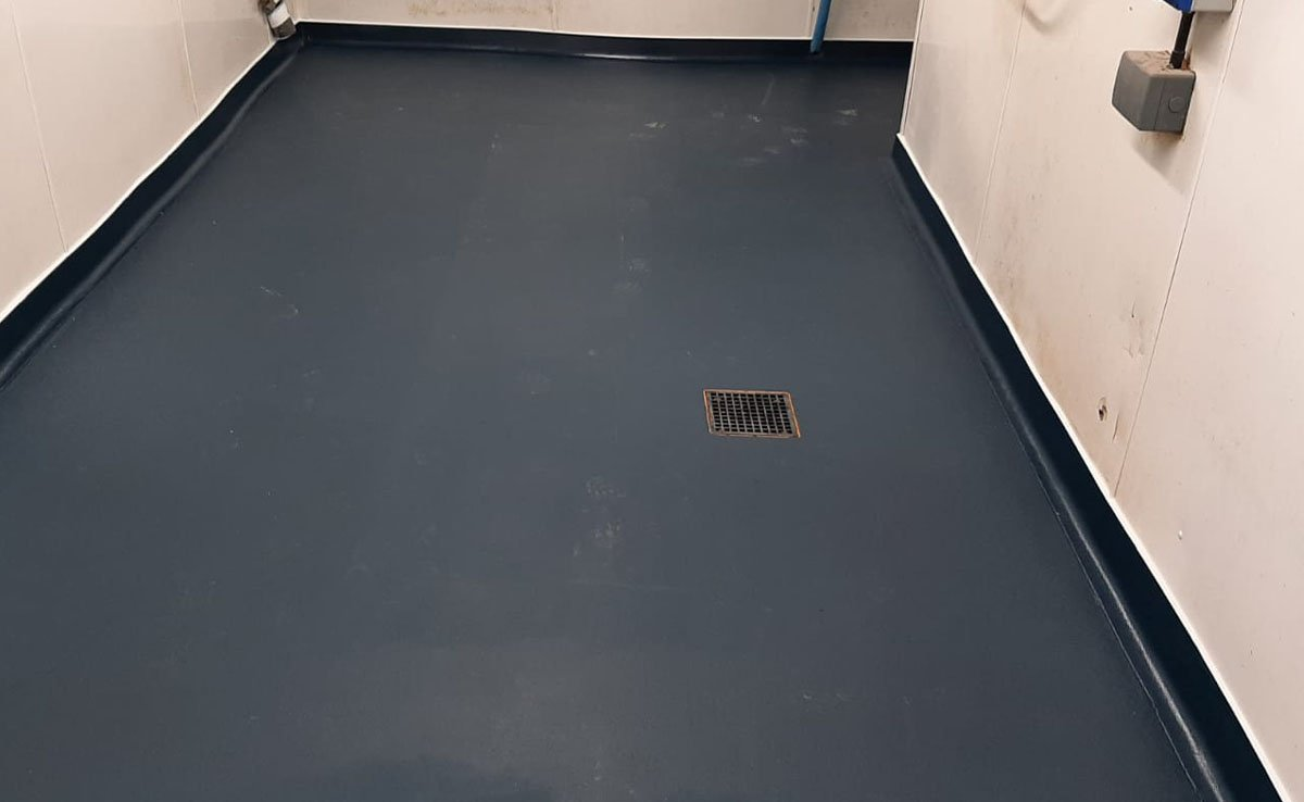 completed resin flooring at a fish shop in yeadon
