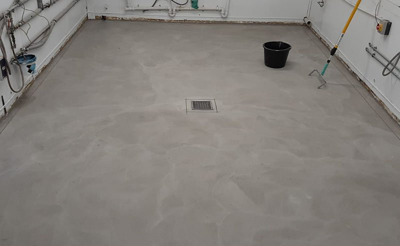 fish shop floor after the old floor was lifted