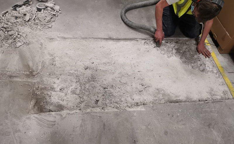 preparing warehouse concrete floor for repairs