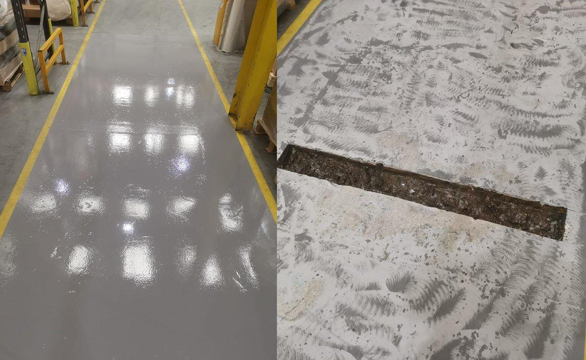 repairing the floor for forklift traffic