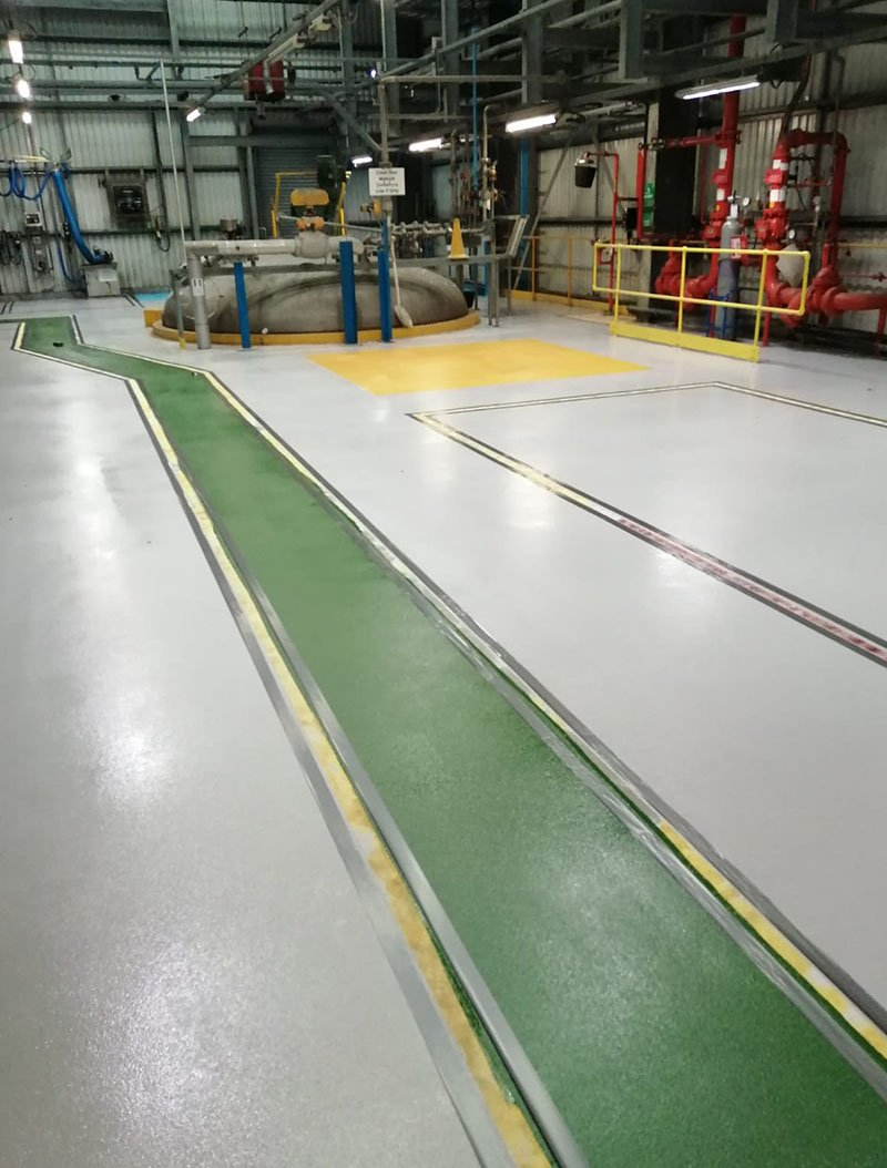 work in progress reinstating walkway at a chemical plant