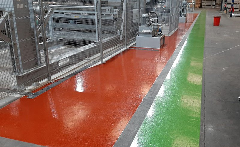 completed resin flooring in red and green