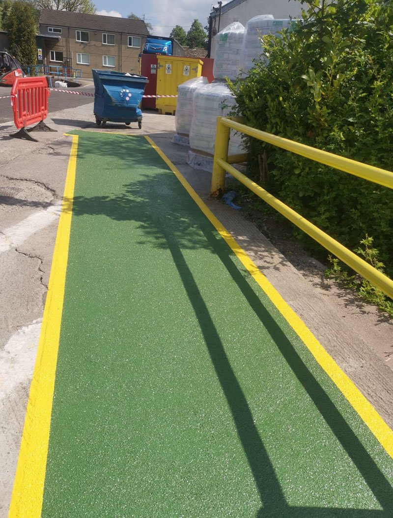 completed walkway in yellow and green resin