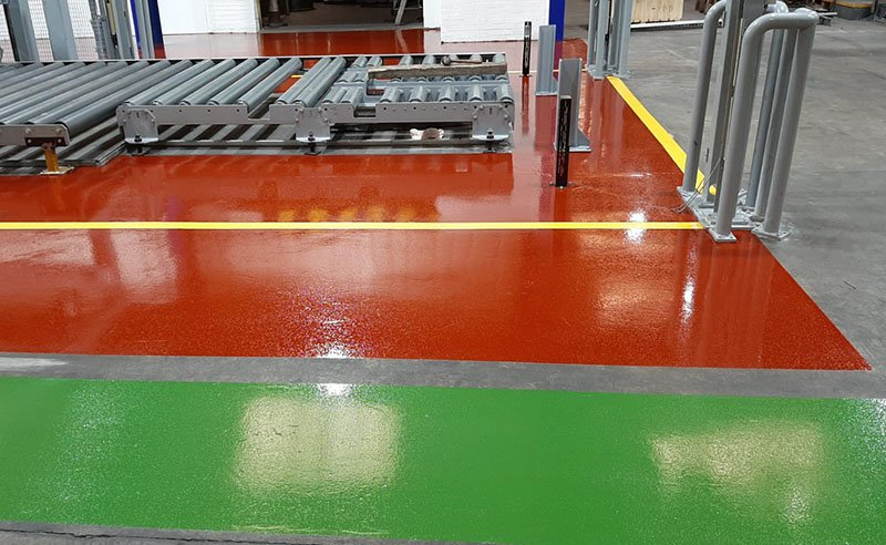 resin walkway in red and green