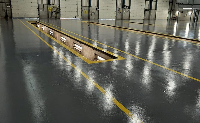 floor repairs at a commercial vehicle centre